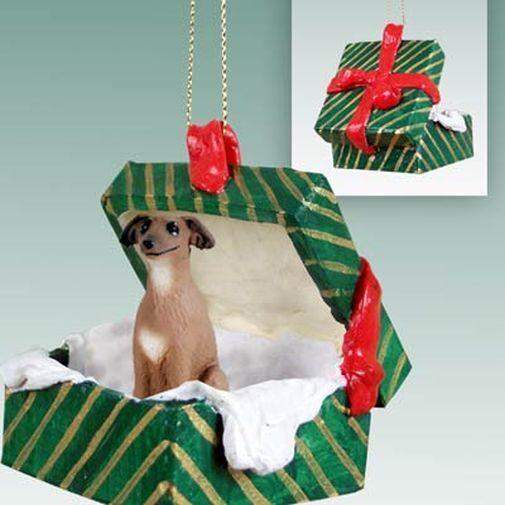 Italian Greyhound Dog Green Gift Box Holiday Christmas ORNAMENT