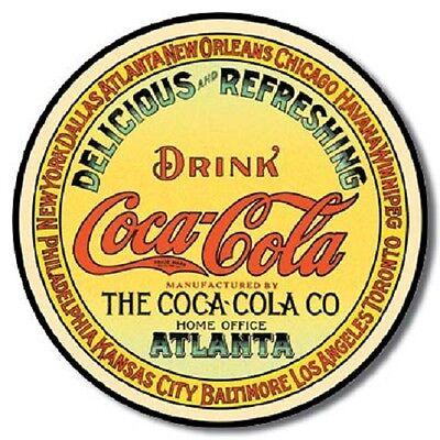Coca Cola Coke Round Keg Label Advertising Vintage Retro Style Metal Tin Sign