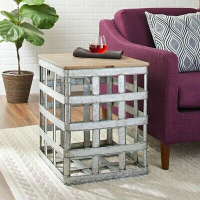 Rustic Metal Table - Farmhouse Rustic Galvanized Metal Side End Table Storage Bin Accent Furniture