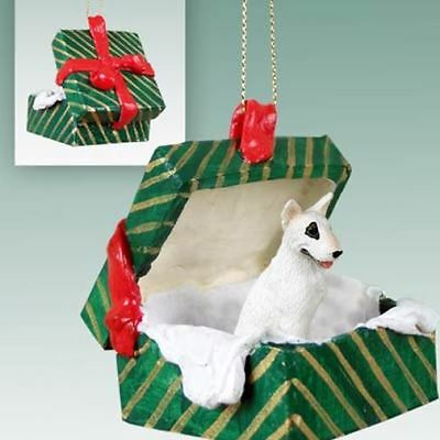 Bull Terrier Dog Green Gift Box Holiday Christmas ORNAMENT