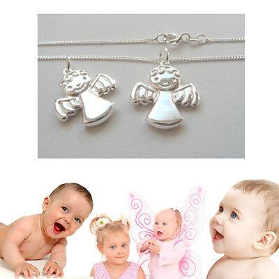 Baby kleiner Lockenkopf Schutz Engel offene Flügel mit Kette 36 cm Silber (Baby Engel Mit Flügeln)