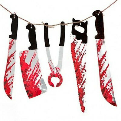 1.8M Halloween Bloody Weapons Garland prop decoration blood Saw Knife Hanging](Halloween Saw Decorations)