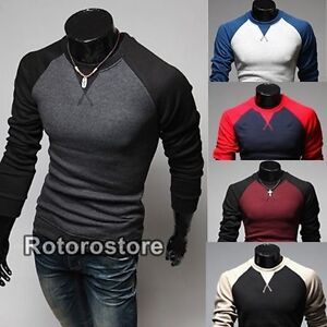 Mens-Slim-Muscle-Fit-Long-Sleeved-Stitch-Contrast-Top-Mens-Casual-T-Shirt-New