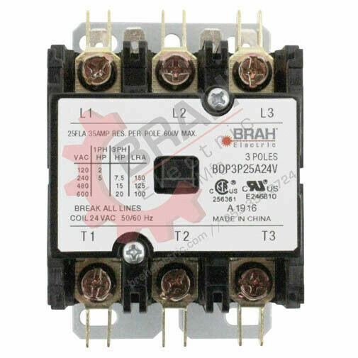 BDP3P25A24V, BRAH Electric aftermarket contactor BDP, 3P, 3PH, 25A 24V AC Coil