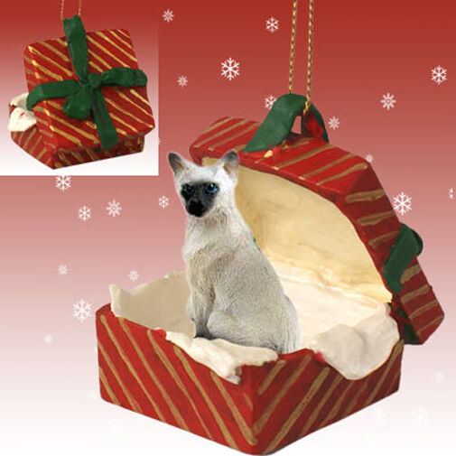 Siamese CAT RED Gift Box Holiday Christmas ORNAMENT