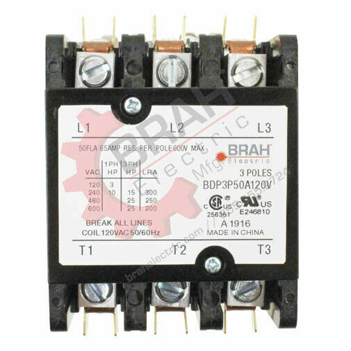 BDP3P60A277V, BRAH Electric contactor, type BDP, 3P, 3PH, 60A 277V AC Coil