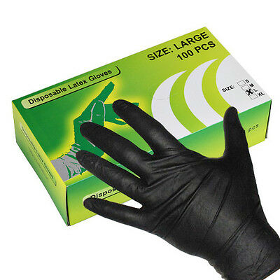 100pcs Black Color Disposable Gloves Powder Free Tattoo Piercing Exam -