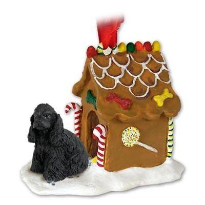 COCKER SPANIEL Black Dog Gingerbread Ginger Bread House Christmas ORNAMENT Black Gingerbread Dog House Ornament