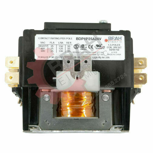 BDP2P25A480V, BRAH Electric aftermarket contactor BDP, 2P, 1PH, 25A 480V AC Coil