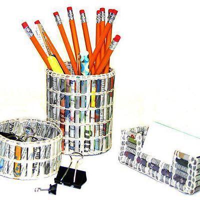 Handmade Office Set Desk Drawer Pen Pencil Card Holder Organizer - Newspaper