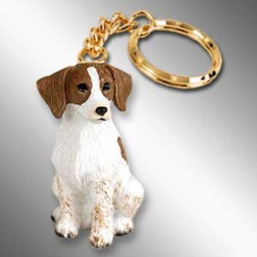 BRITTANY Brown White Dog Tiny One Resin Keychain Key Chain Ring