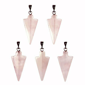 5-x-ROSE-QUARTZ-Gemstone-ARROW-HEAD-Charm-Pendants-30mm