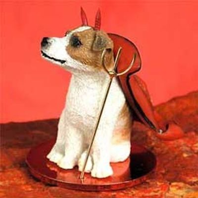 (Jack Russell Terrier Brown White Smooth Cut Devil Dog Tiny One Figurine Statue)