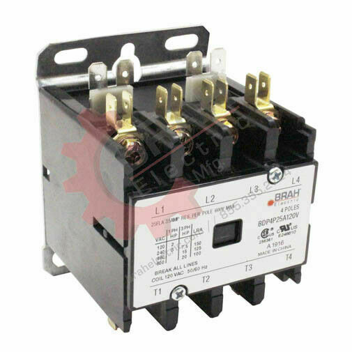 BDP4P40A480V  BRAH Electric, Elite Series contactor, type BDP, 4P, 3PH, 40A