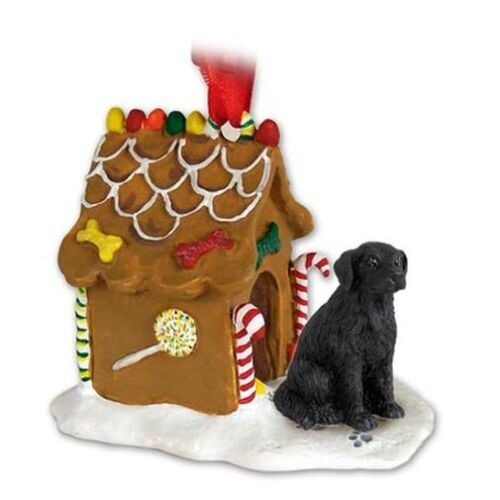 Flat Coated Retriever Dog Ginger Bread House Christmas ORNAMENT