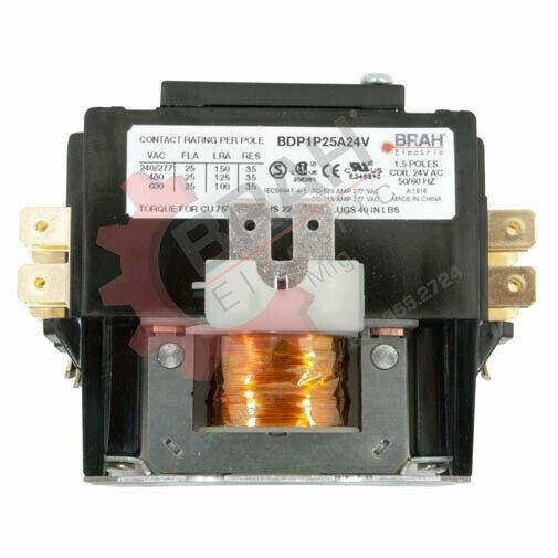 BDP2P25A240V, BRAH Electric aftermarket contactor BDP 2P, 1PH, 25A 208/240V Coil