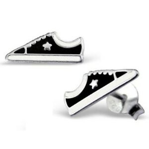 BLACK-TRAINERS-STERLING-SILVER-STUD-EARRINGS-Converse-Shoes-Gift-Box