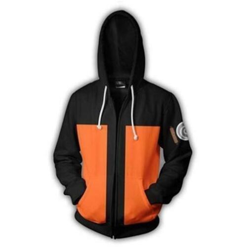 Naruto Uzumaki Shippuden Cosplay Costume Hoodie Zipper Jacket Coat Size M Medium