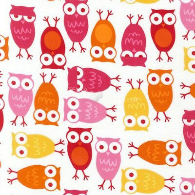 Urban Zoologie Pink Owls by Anne Kelle for Robert Kaufman, 1/2 yd cotton fabric