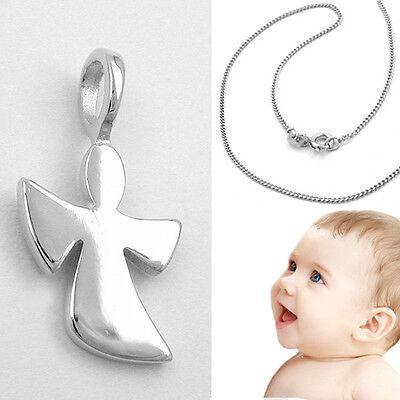 moderner Schutz Engel mit offenen Flügeln Anhänger Silber 925 mit Kette (Baby Engel Mit Flügeln)
