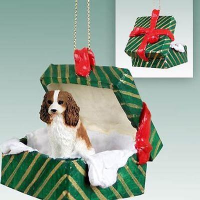 - Cavalier King Charles Brown White Dog Green Gift Box Holiday Christmas ORNAMENT