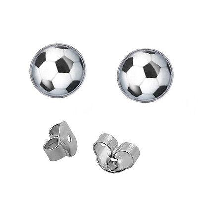 Jungs kleine Fußbälle Ohrstecker Kinder Fußball Ohrringe Ball Echt Silber 925