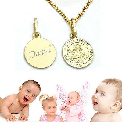 Engel Gold 333 Gottes Segen mit Namen Gravur und Kette Silber 925 vergoldet