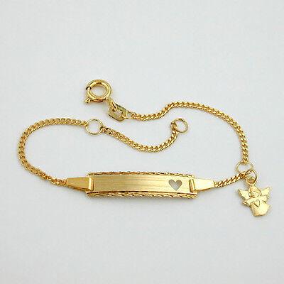 Baby Taufe Schutz Engel Herz Ident Armband mit Gravur Name Datum Silber 925 VG