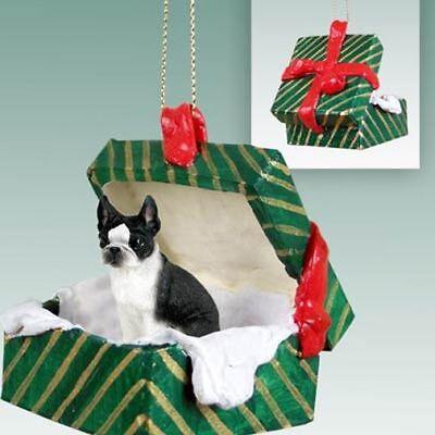 Boston Terrier Dog Ornament - Boston Terrier Dog Green Gift Box Holiday Christmas ORNAMENT