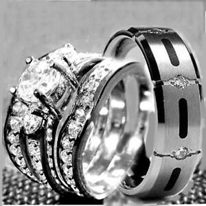 His & Hers 4 pcs Womens STAINLESS STEEL & Mens TITANIUM Wedding rings set bridal