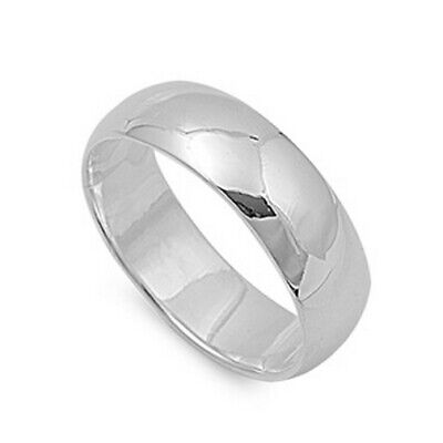 Wedding Band Ring Sterling Silver 925 High Polish Best Jewelry Width 7MM Size