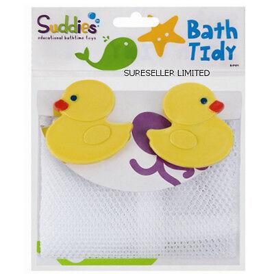 DUCK BABY BATH TOYS TIDY STORAGE NET BAG - 2 HANGING SUCTION CUPS BATHROOM