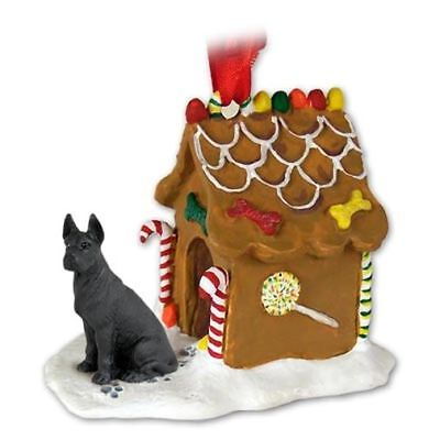 GREAT DANE Black Dog Ginger Bread Gingerbread House Christmas ORNAMENT Black Gingerbread Dog House Ornament