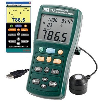 Solar Power Meter 400-1knm Range 2000wm2 634btuft2h Data Logger Sd 2g Usb