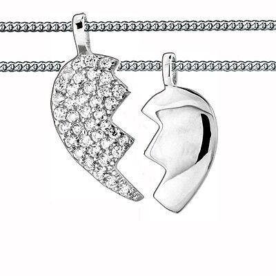 2 Partner- Freundschafts Herz Hälften Anhänger mit 2 Ketten Echt Silber 925