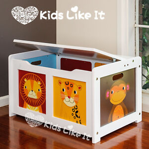 NEW* JOHN CRANE KIDS Jungle Animal WHITE WOODEN TOY BOX STORAGE BLANKET CHEST