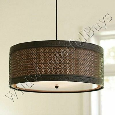 3 Light Hanging Drum Shade Chandelier Tuscan Pendant Light Fixture (Tuscan Light Fixtures)