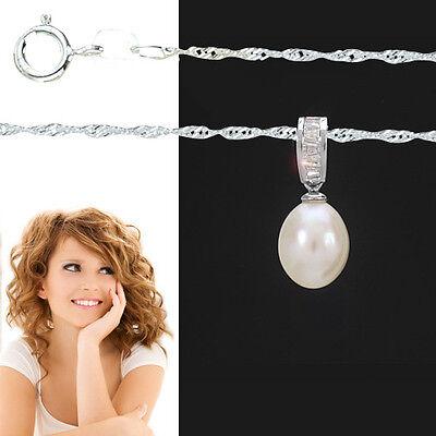 Frauen Süßwasser Zucht Perle Anhänger mit Singapur Kette 45 cm Echt Silber 925