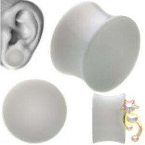 White-Double-Flare-Plugs-Solid-Ear-Gauge-Body-Jewelry-Tunnel-Earlets-Earrings
