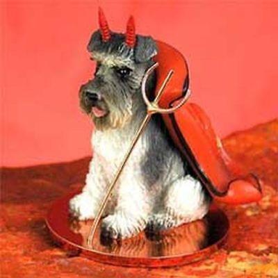Schnauzer Gray Uncropped Ears Devil Dog Tiny One Figurine Statue