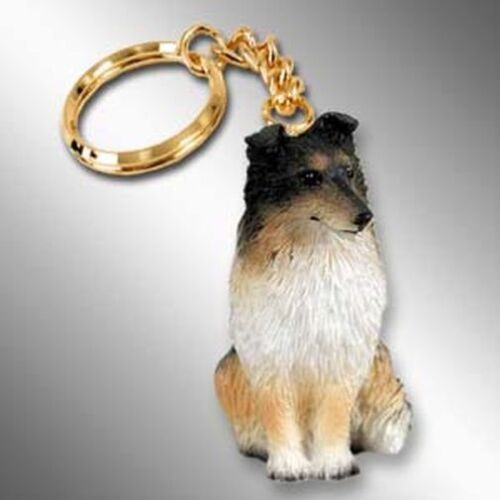 SHELTIE Tri Color Dog Tiny One Resin Keychain Key Chain Ring
