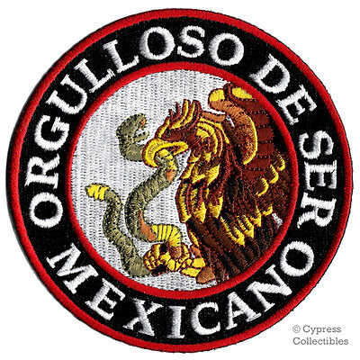 PROUD TO BE MEXICAN embroidered iron-on PATCH FLAG ORGULLOSO DE SER MEXICANO new