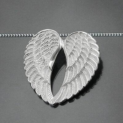 1 Damen Doppel- Engelsflügel Anhänger in Herz Form Echt Silber 925 und Kette Neu