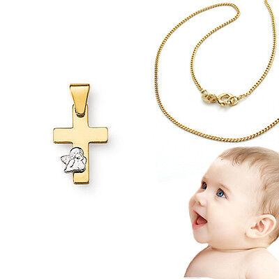 Kreuz Anhänger Echt Gold 585 Engel Weißgold mit 36cm Kette Silber 925 vergoldet