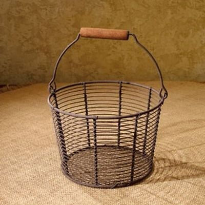 Primitive Country RUSTY WIRE EGG GATHERING BASKET ...