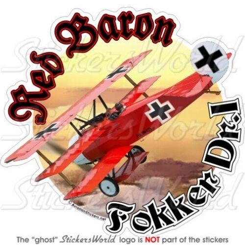 """FOKKER TRIPLANE RED BARON Richthofen WWI German 4,6"""" (117mm) Vinyl Sticker Decal"""