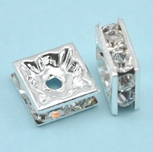 20x  Clear Rhinestone Crystal Diamante Silver Plated Square Spacer Beads