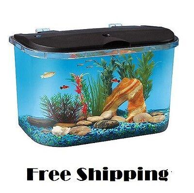 Acrylic Desktop Fish Tank Aquarium Filter Starter Kit 5 Gallon LED Lights Round