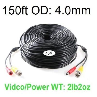150ft (45m) Video and Power cable 4.0mm diameter thick, use for BNC Cameras