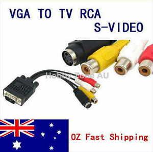 PC VGA to S-Video AV 3RCA TV Out Converter Adapter Cable